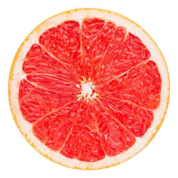 red grapefruit slice, clipping path, isolated on white background - agrume foto e immagini stock