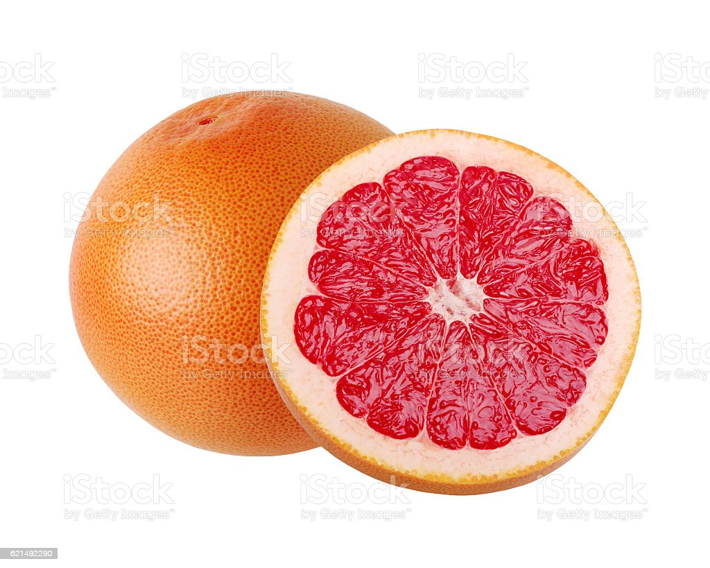 Red grapefruit, whole and half, isolate. photo libre de droits