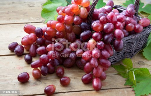Red Grapes overflowing out of basket