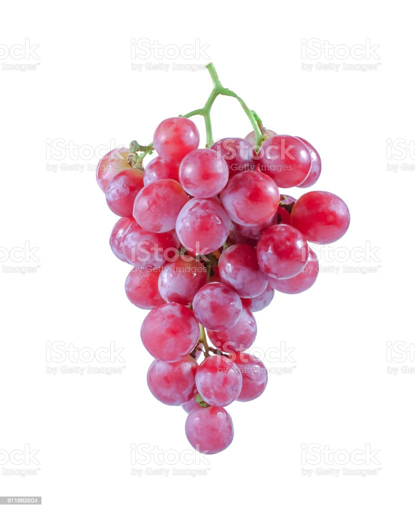 red grapes isolated on white background stock photo