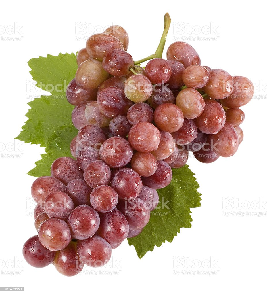 Red grapes isolated on white(clipping path) royalty-free stock photo
