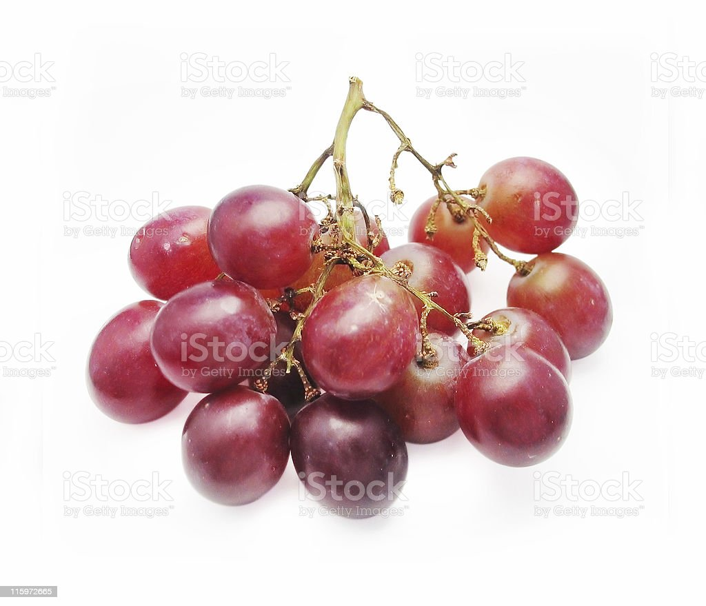Red grapes on stem isolated - Clipping Path royalty-free stock photo