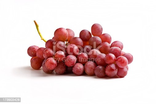 Red grapes isolated on white with shadow