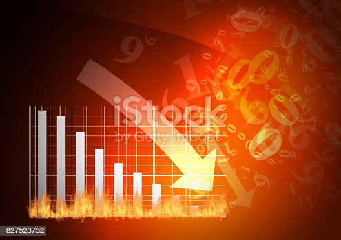 istock Red graph is falling down 827523732
