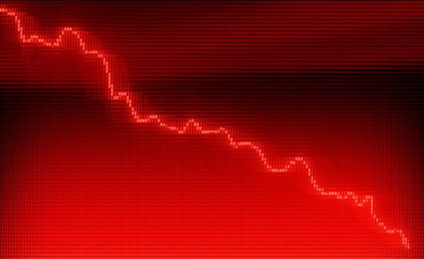 röd graf flyttar nedåt på diagram som recession eller finanskrisen 3d-animering - graphs animation bildbanksfoton och bilder
