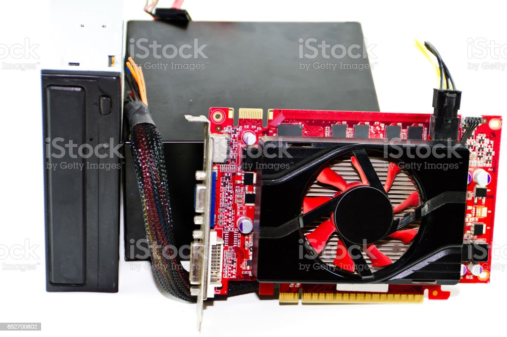 Red Graphic Card With Broken Computer Power Supply Stock Photo ...