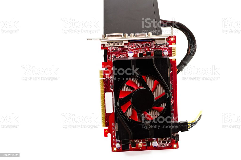 Red Graphic Card With Defect Computer Power Supply Stock Photo