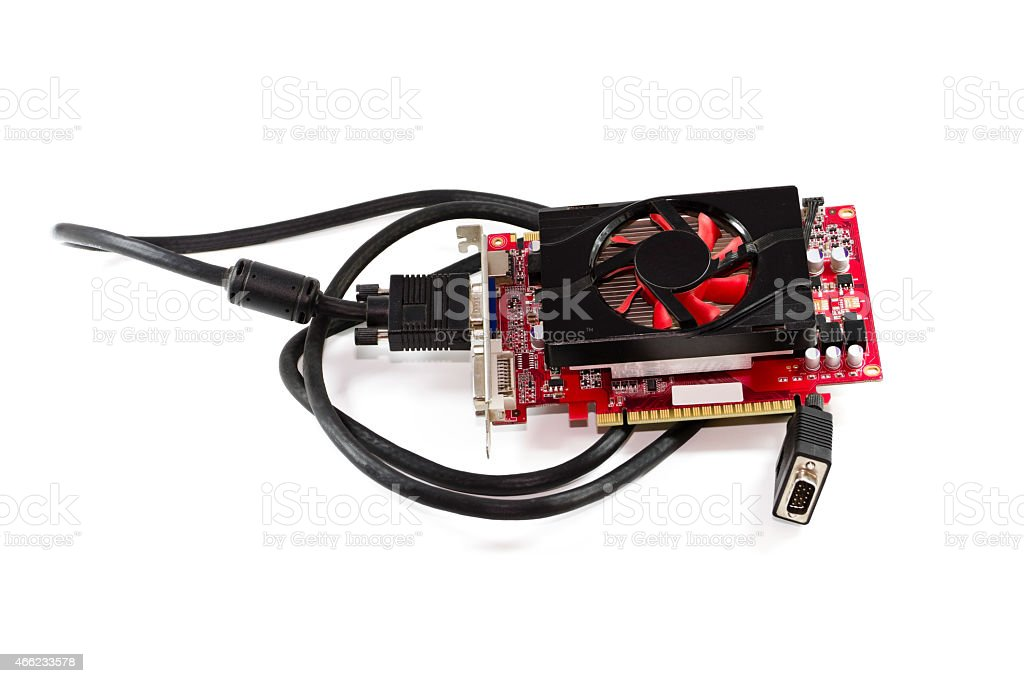 Red Graphic Card with VGA Signal Cable stock photo
