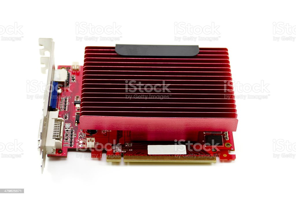 Red Graphic Card without Fan on white background stock photo