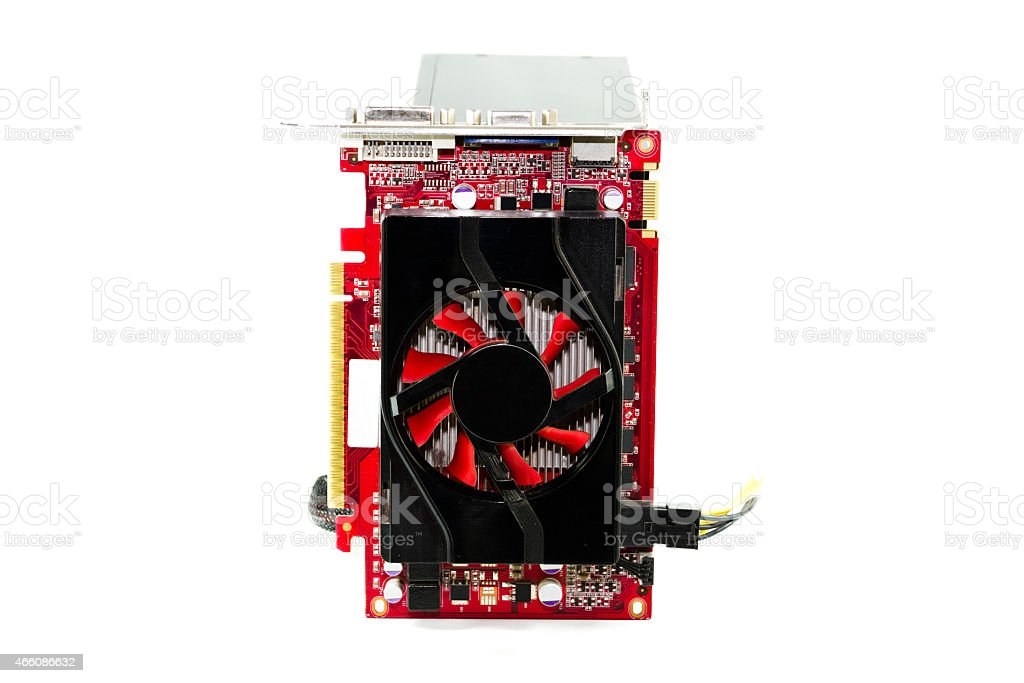 Red Graphiccard with Defect Computer Power Supply stock photo