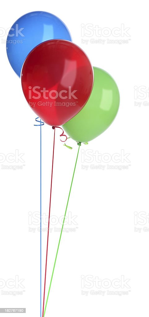 Red Green and Blue Balloons on White stock photo