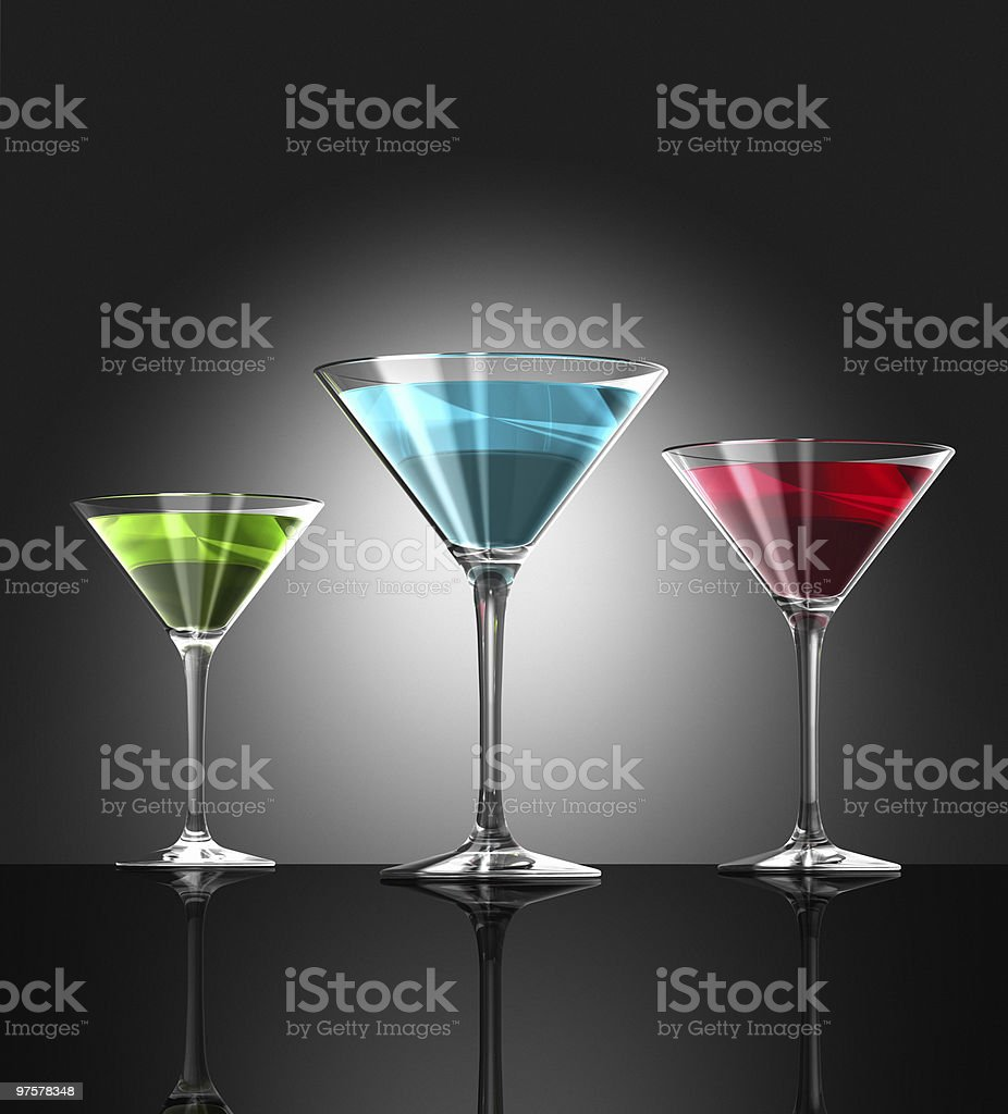 red, green and blue cocktail glasses royalty-free stock photo