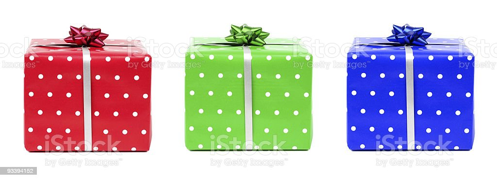 red, green and blue gifts stock photo