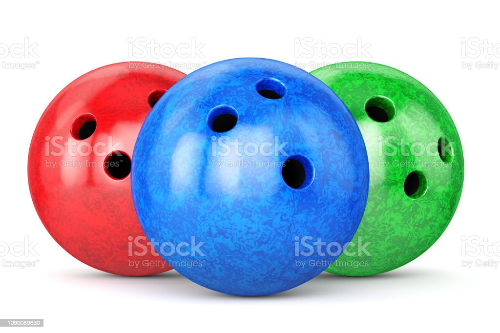 Group of bowling balls with red, green and bleu marble textures...