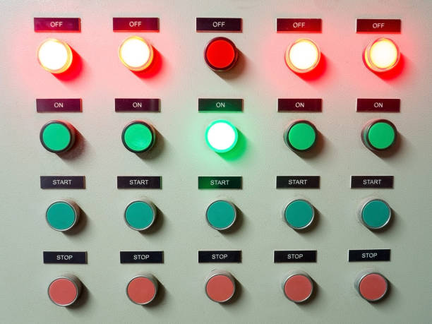 red, green and blue light led on electric control panel showing on/off status - control panel stock photos and pictures
