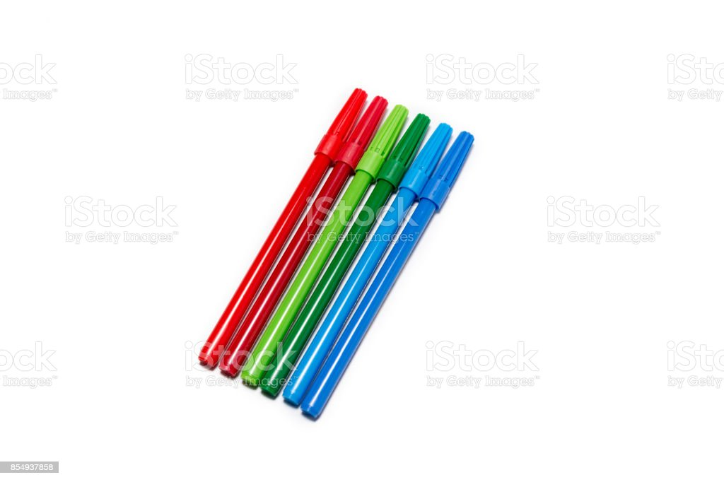 Red, Green And Blue Marker Pens stock photo