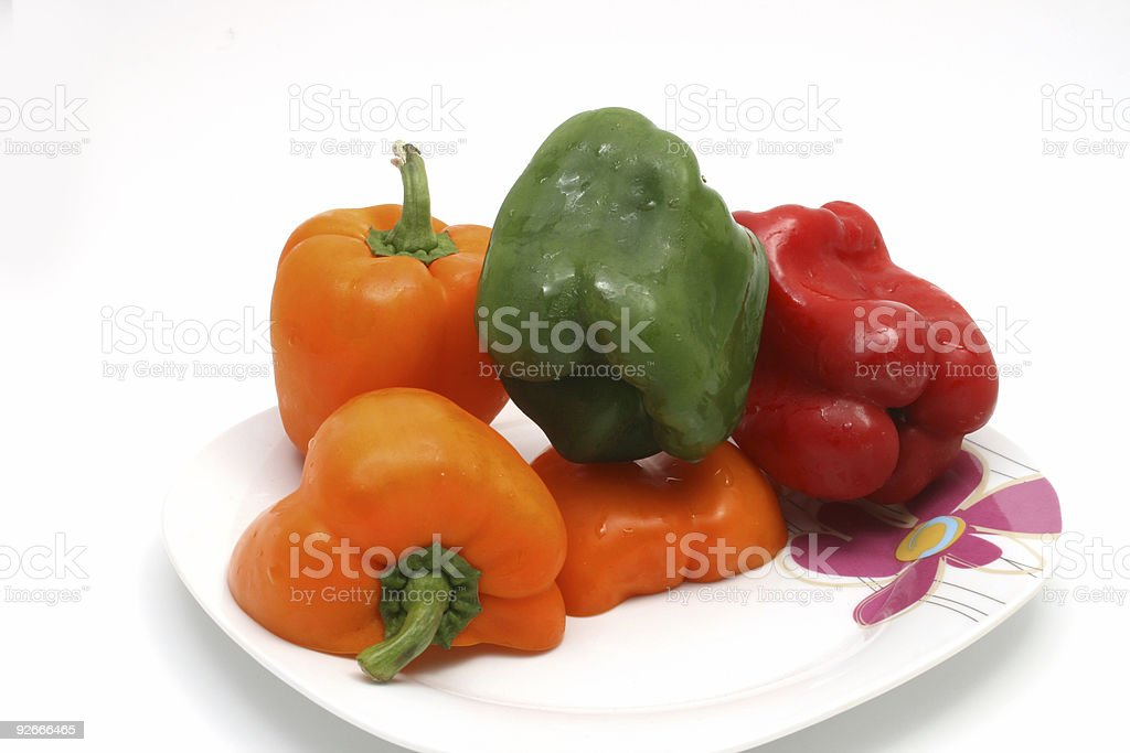 Red, Green and Orange bell peppers royalty-free stock photo