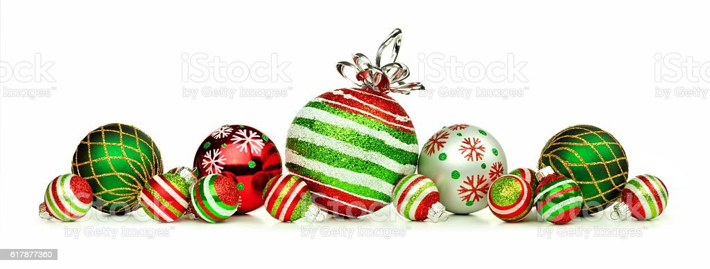red green and white christmas ornament border isolated on white royalty free stock