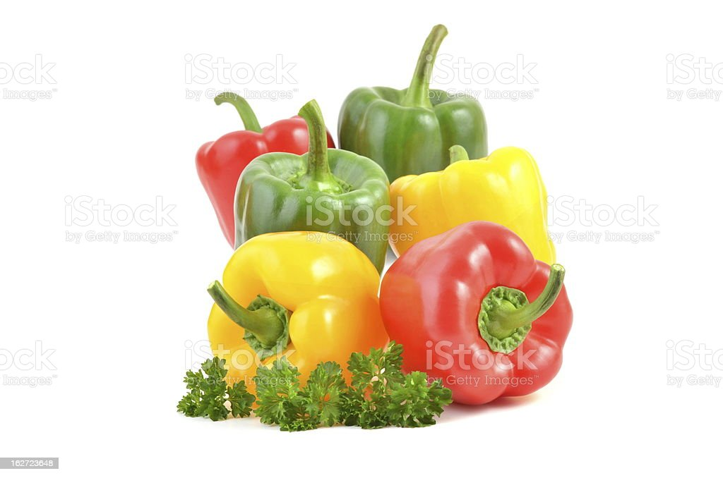 red, green and yellow Bell Peppers royalty-free stock photo