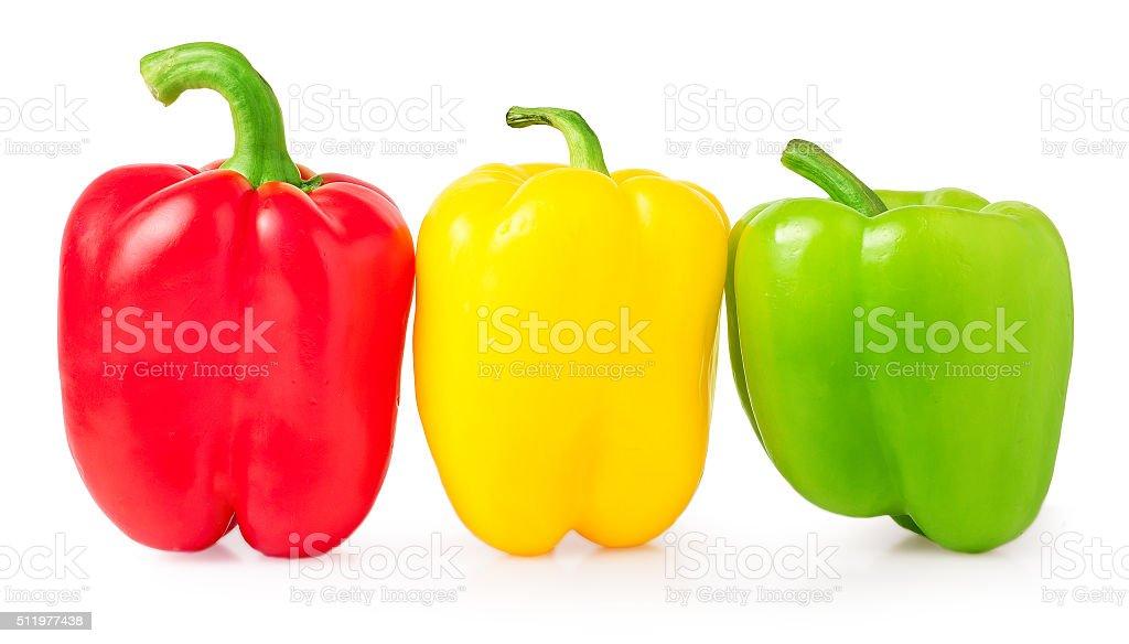 Rosso, verde e giallo peperoni - foto stock