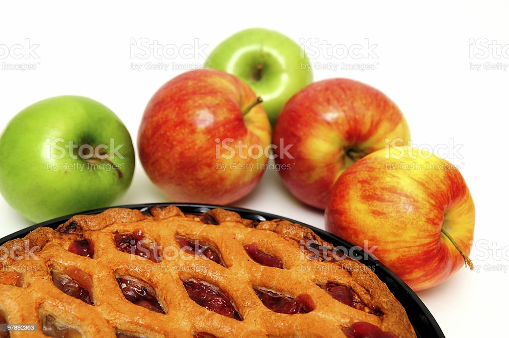 Red Green Apples And  Pie royalty-free stock photo