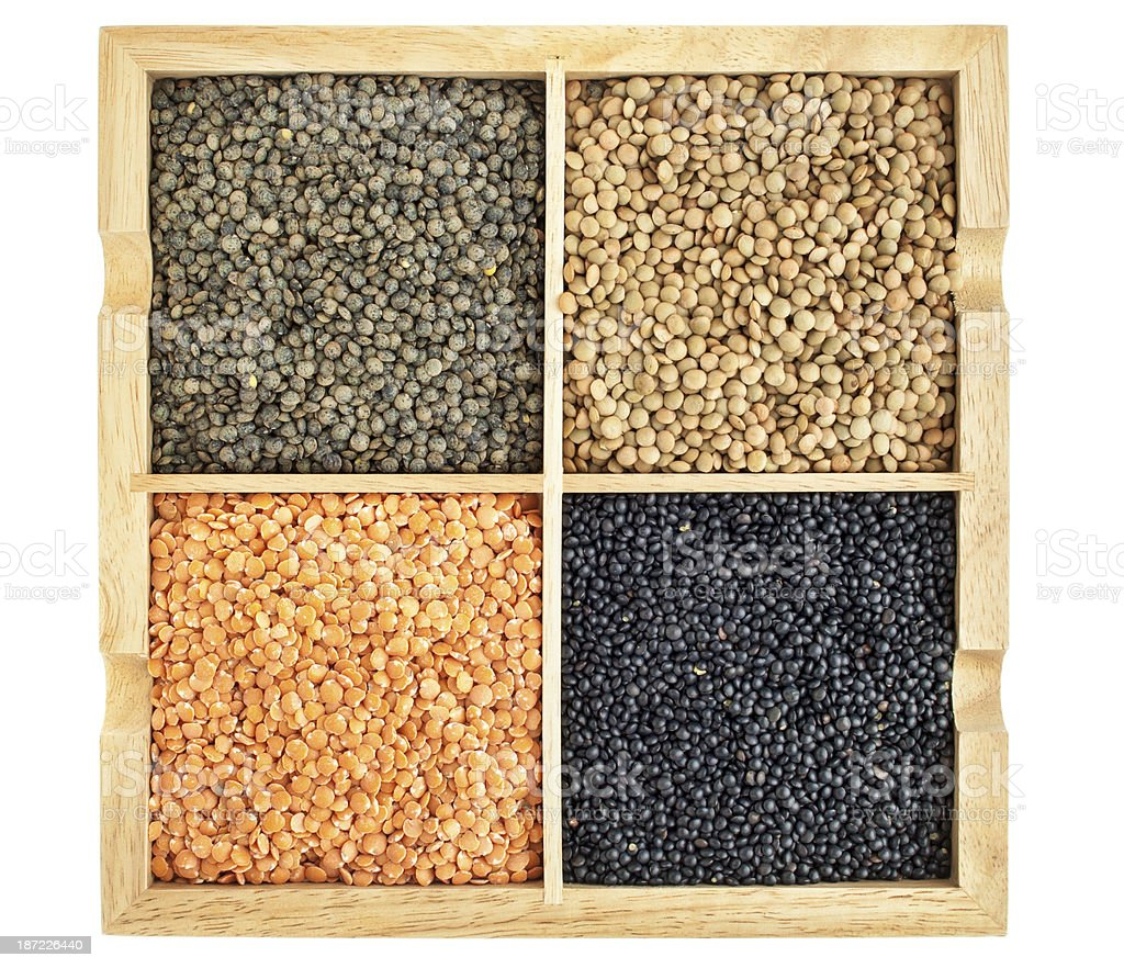 red, green, black and French lentils royalty-free stock photo