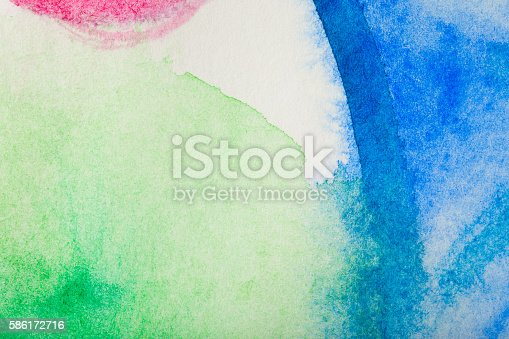 istock Red, green, blue watercolor background 586172716