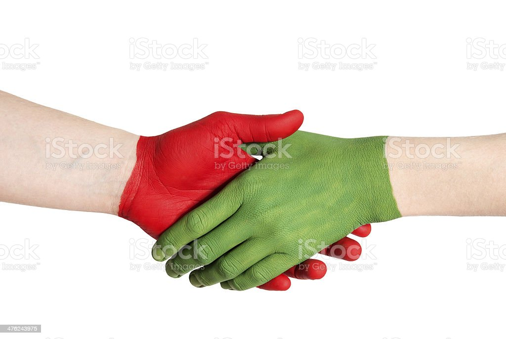 red green handshake royalty-free stock photo