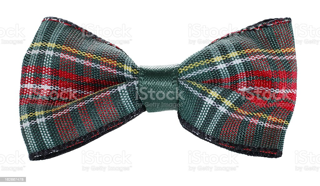 Red green plaid bow tie stock photo