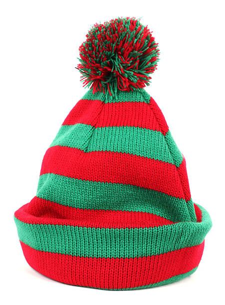 Red green winter cap stock photo