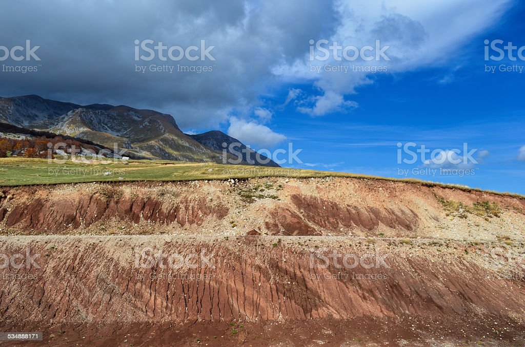 Red ground cross-section stock photo