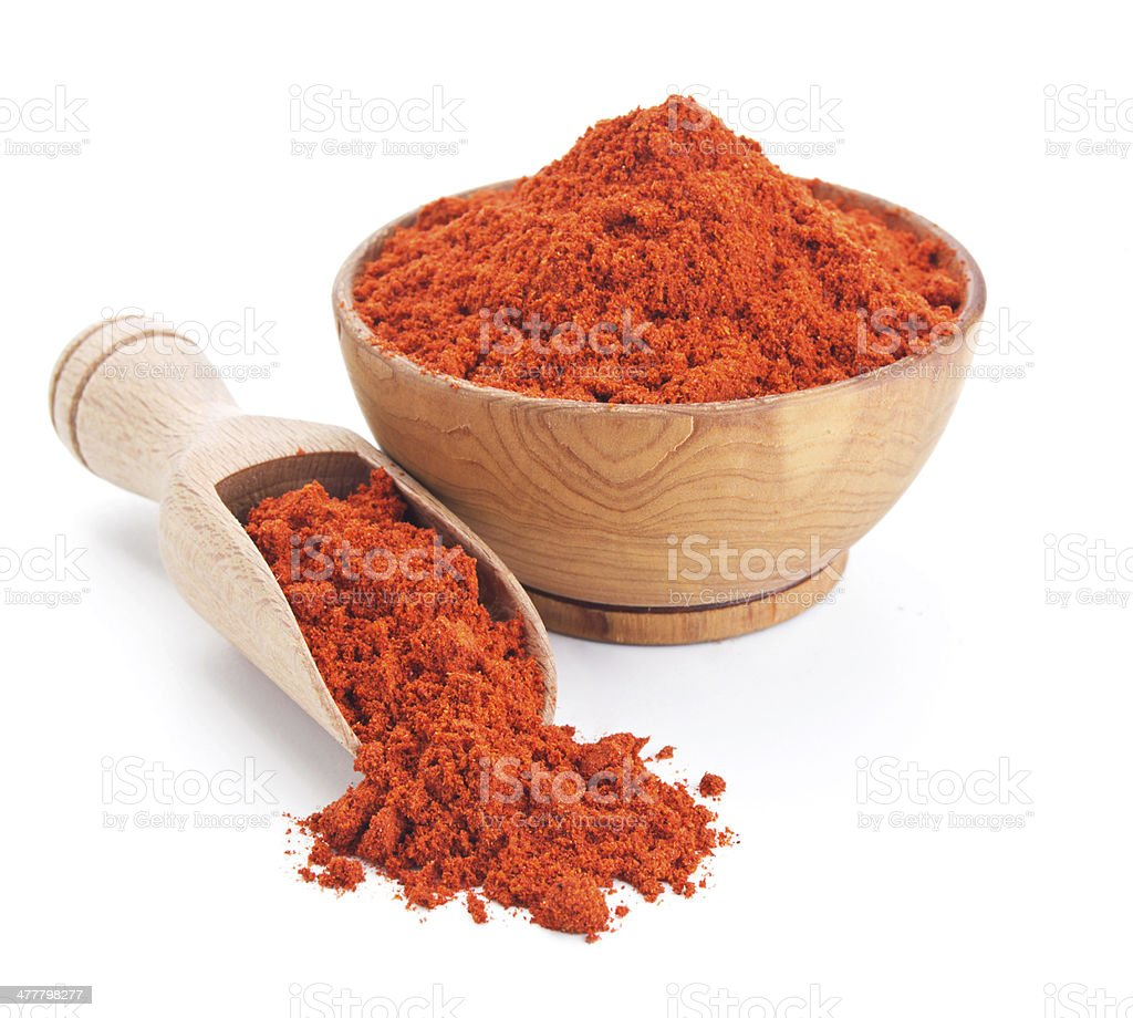 red ground paprika isolated on white stock photo