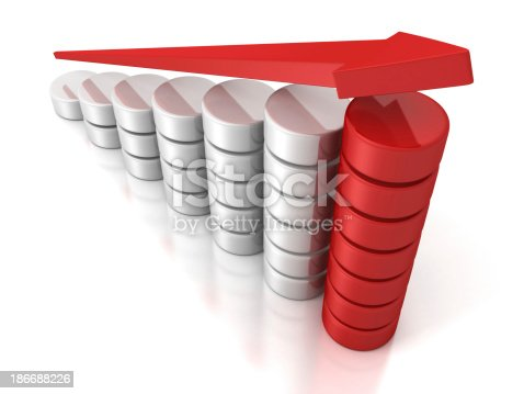 1062884120istockphoto red growing arrow on success business bar chart 186688226