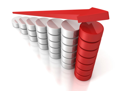 1062884120 istock photo red growing arrow on success business bar chart 186688226