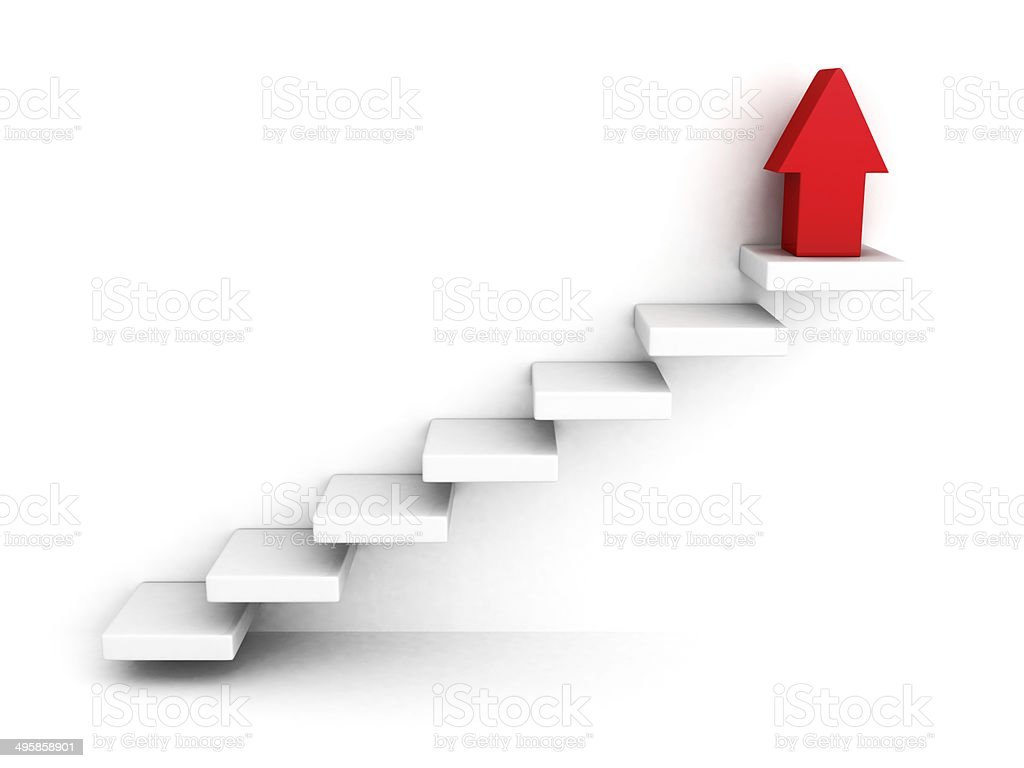 red growing up success arrow and upstairs steps ladder stock photo