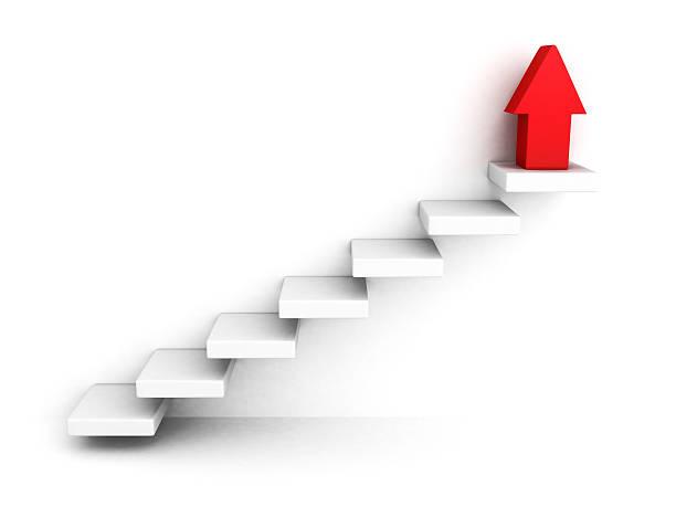 Rot wachsender Erfolg Pfeil nach oben und oben Schritte Leiter – Foto