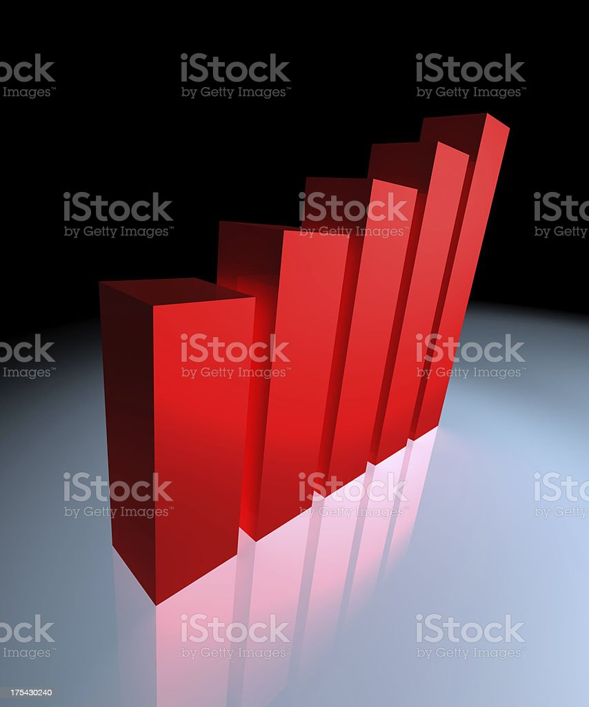 Red growth chart royalty-free stock photo