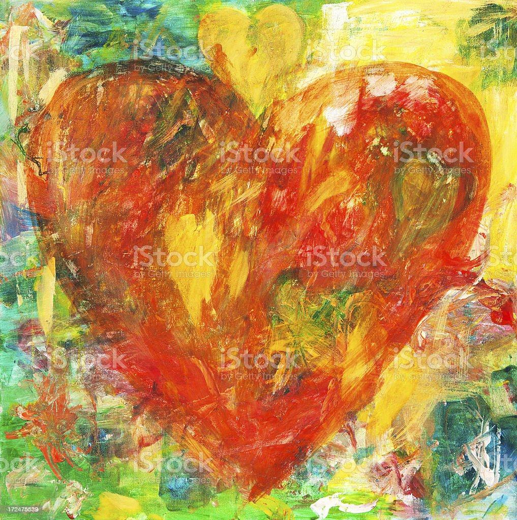 red grunge acrylic hearts painting stock photo more pictures of