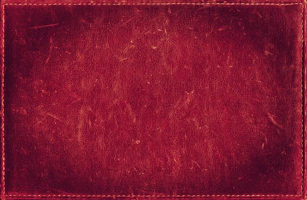 Rosso grunge sfondo di difficoltà in pelle cucita texture con telaio - foto stock