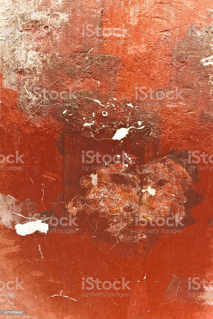 Red grunge background with erosion stains and leaks royalty-free stock photo