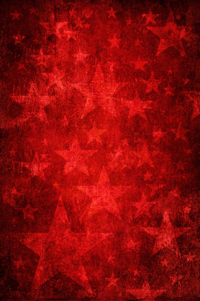 Red grunge background with stars stock photo