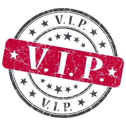 VIP red grunge round stamp on white background