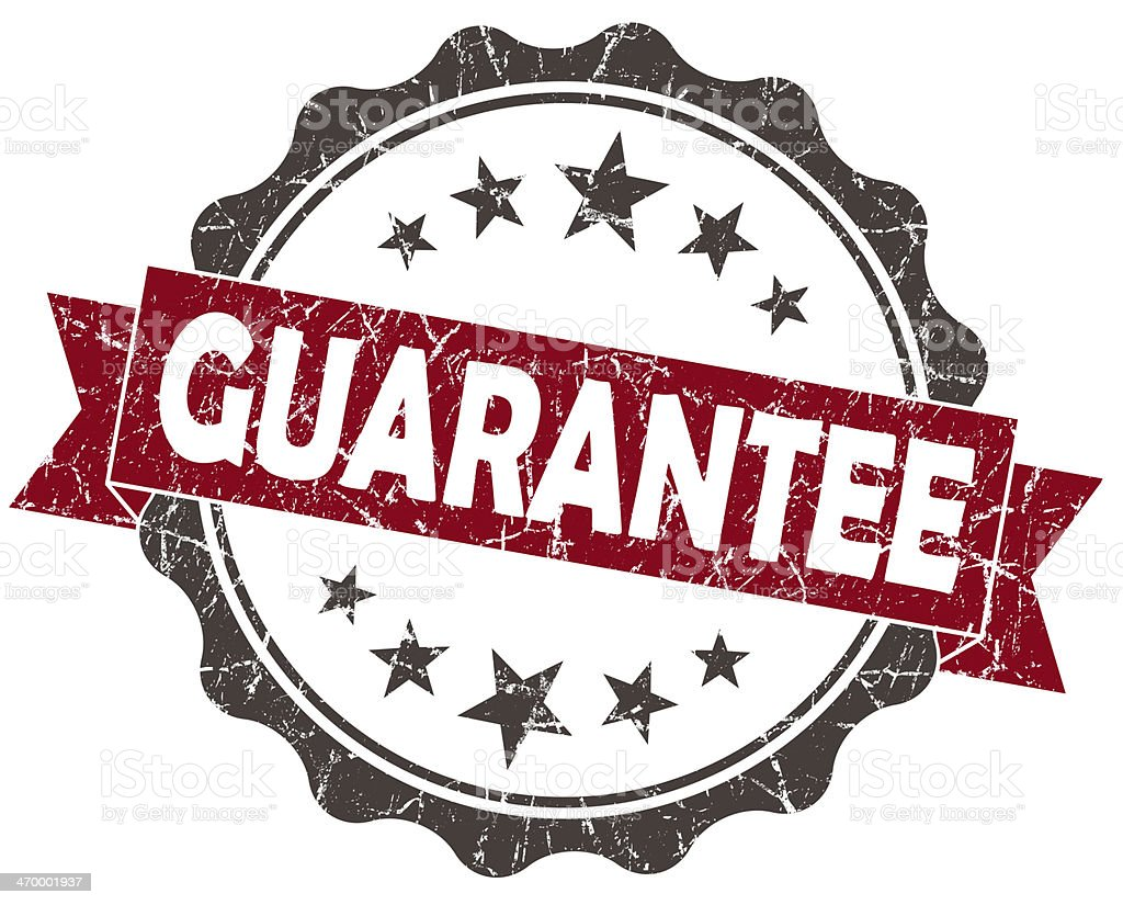 GUARANTEE red grunge vintage seal isolated on white stock photo