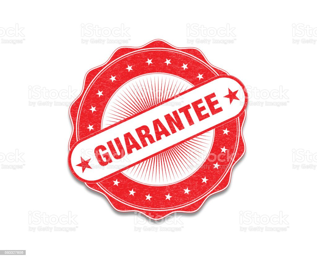 Red 'Guarantee' Stamp On White stock photo