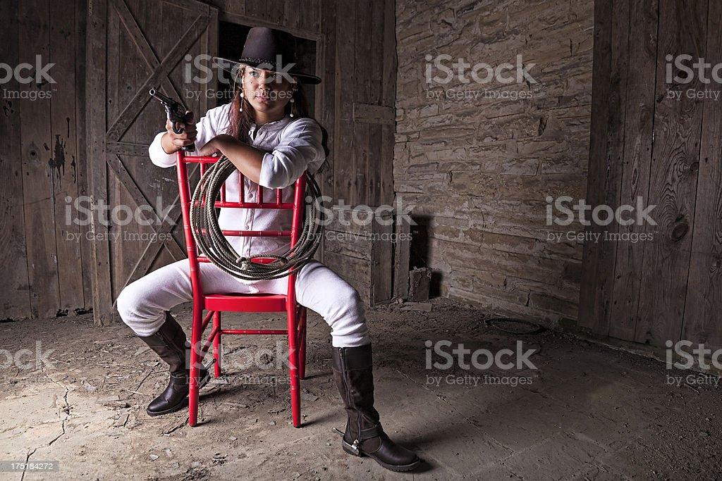 red gun chair stock photo