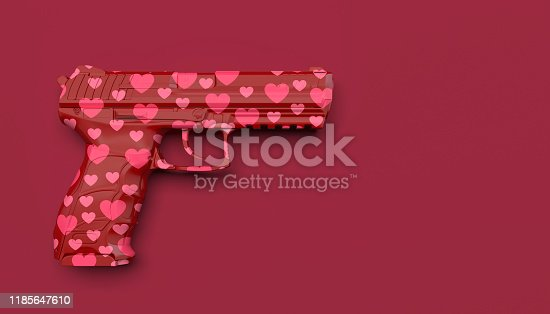 Red gun pattern with pink hearts on a red background. Creative conceptual illustration with copy space. 3D render