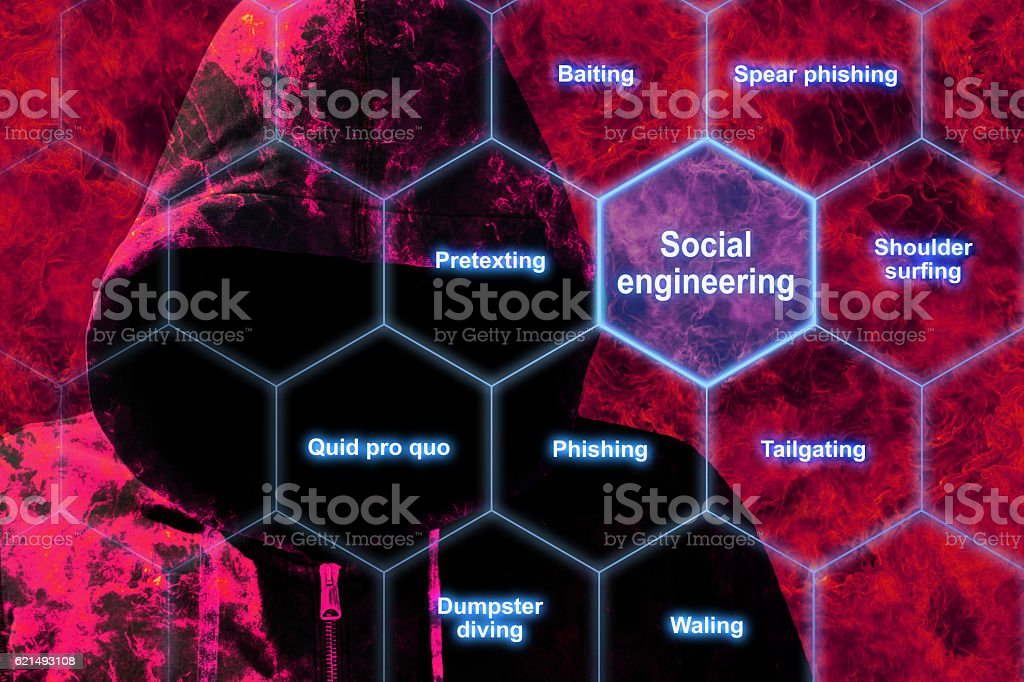 Red hacker in flames social engineering concept stock photo