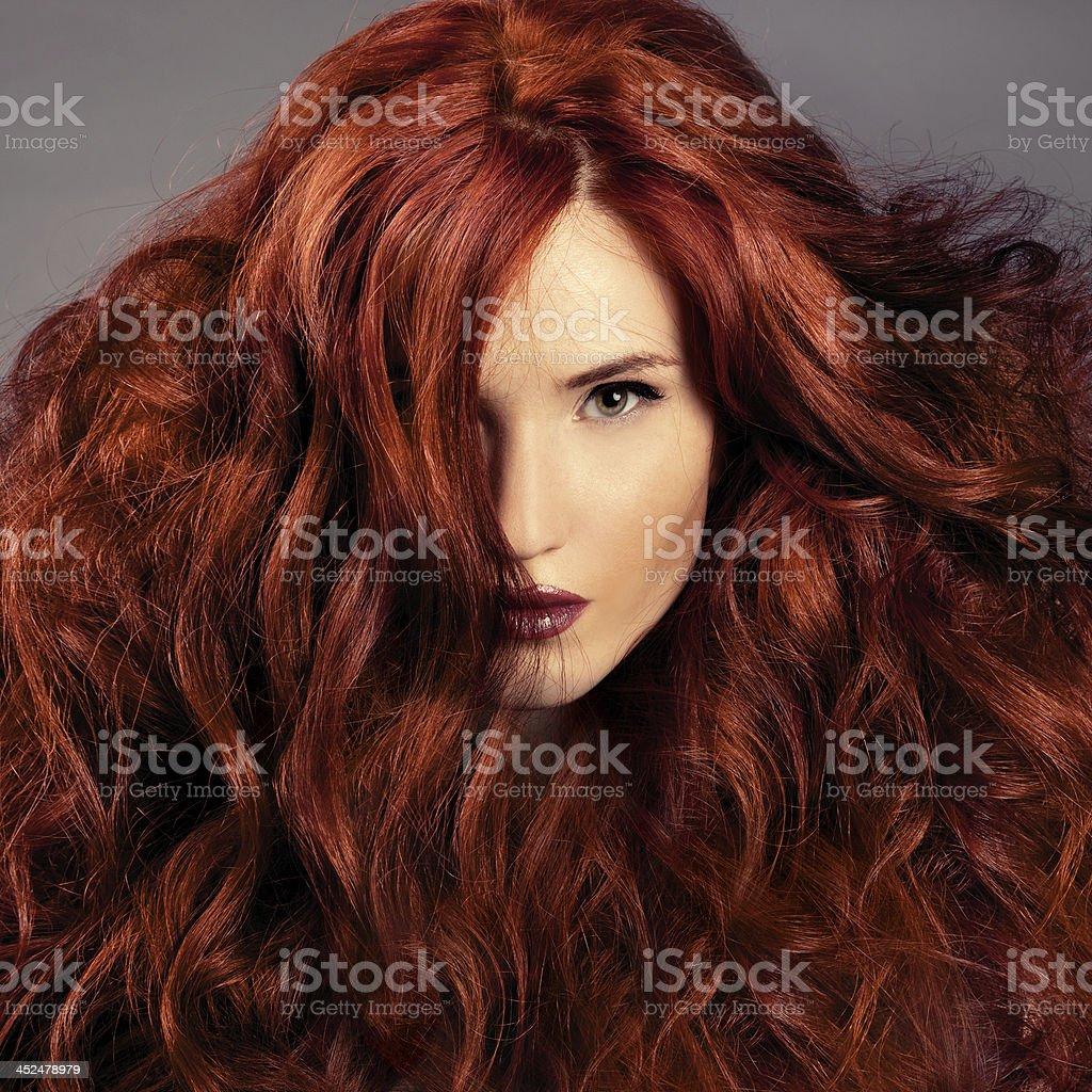 Rotes Haar.  Mode Mädchen Portrait - Lizenzfrei Attraktive Frau Stock-Foto