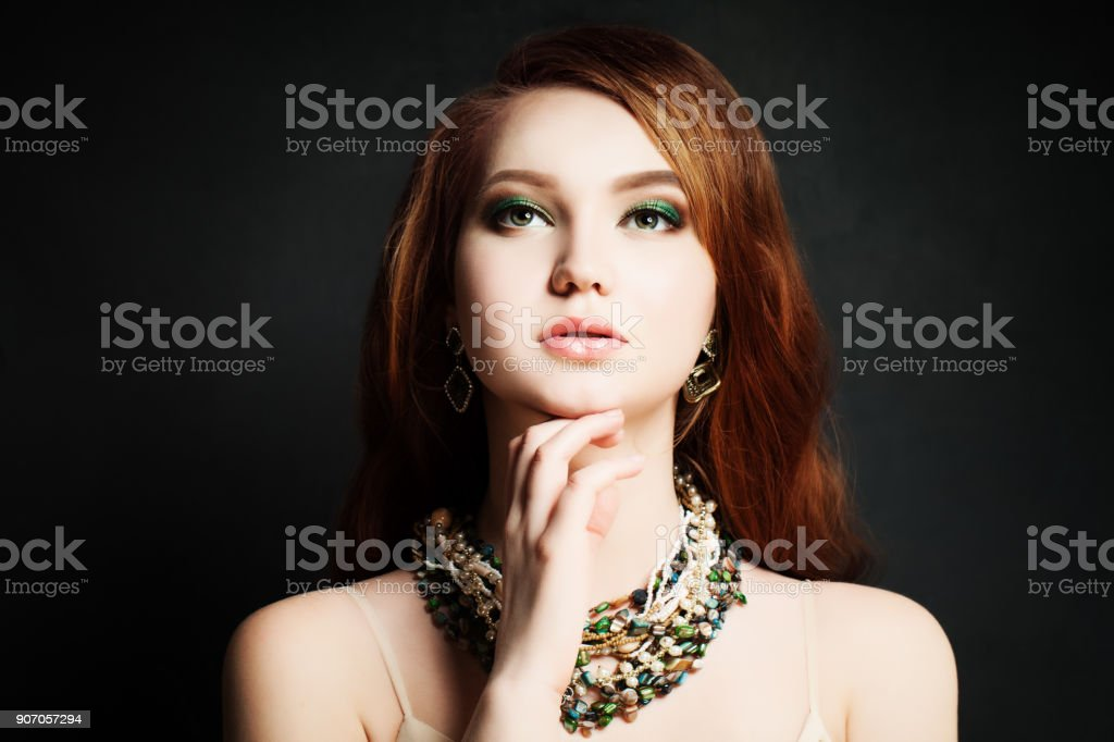 Red Hair Woman Redhead Makeup Pretty Face Stock Photo More
