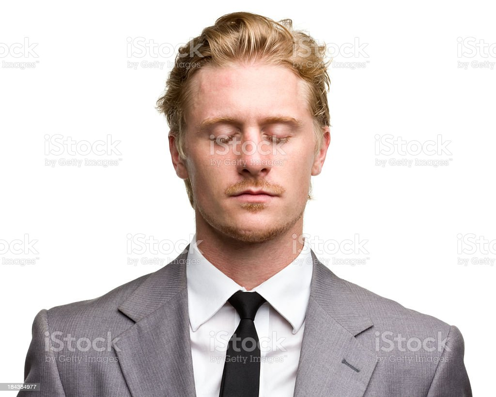 Red haired male portrait with eyes closed stock photo